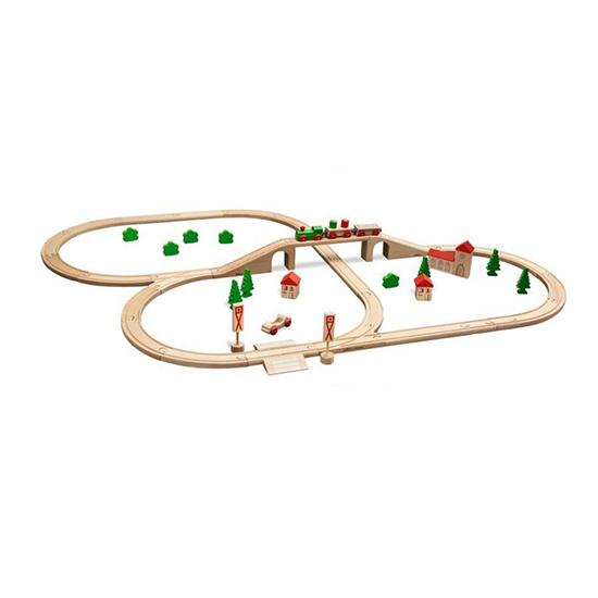 Eichhorn с мостом, деревяннаяс мостом, деревяннаяНабор деревянной железной дороги с мостом.  Длина трека 460см.   В набор входит 55 деталей: паровоз, 2 вагона, 3 дома с крышами, 2 дорожных знака, машинка, 5 деревьев, 5 кустов, рельсы, мост<br>