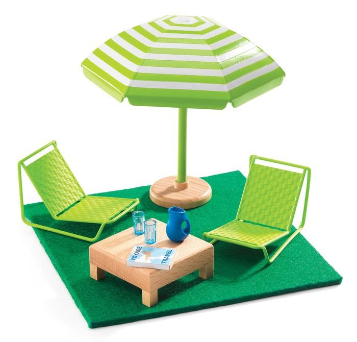 Кукольные домики и мебель Djeco Мебель для кукольного дома Терраса, Кукольные домики и мебель - артикул:433214