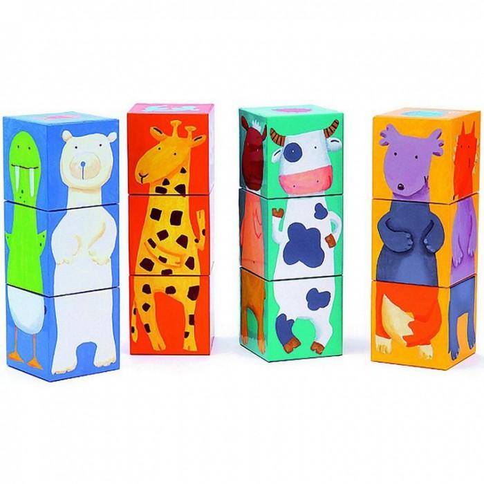 Развивающие игрушки Djeco Кубики Животные 12 шт. djeco пазл для малышей лесные животные
