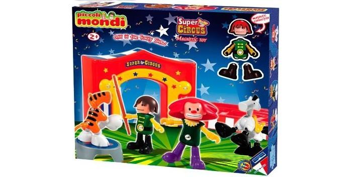 Конструктор Plastwood Mondi Super Circus PlaysetMondi Super Circus PlaysetPlastwood Piccoli Mondi Super Circus Playset  Наборы для самых маленьких! Из уникальных деталей набора можно собрать свой захватывающий мир цирка с веселыми клоунами и дрессированными животными.  Принципиально новый набор магнитных конструкторов Supermag специально разработанный для самых маленьких детей от 2 лет.  Набор сочетает в себе отличное качество и развивающие способности уже признанных и полюбившихся моделей с крупными размерами деталей и отсутствием непосредственного доступа к магнитам для дополнительной безопасности малышей.  В комплект входят: цирковые кулисы ложа для зрителей дрессировщик веселый клоун тигр лошадь тумба манеж игровое поле 94 х 68 см.  Возраст: 2+. Количество деталей: 23 шт.<br>
