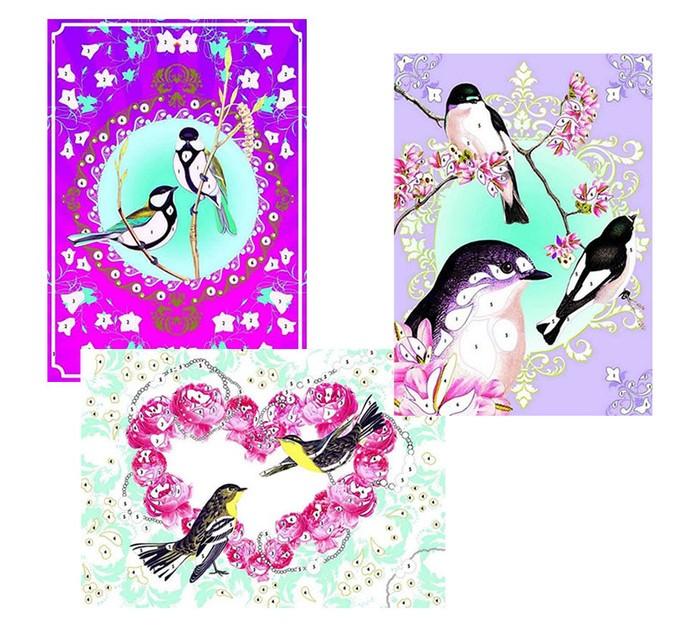 Наборы для творчества Djeco Набор для творчества Блестящие птицы djeco бархатные раскраски птицы с 3 лет