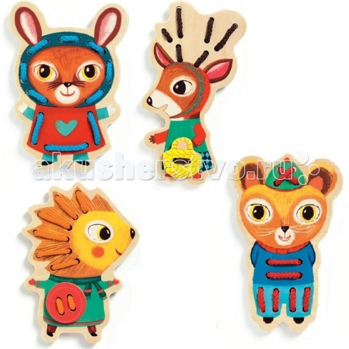 Деревянные игрушки Djeco Шнуровка Животные 01694 игра djeco шнуровка зверюшки
