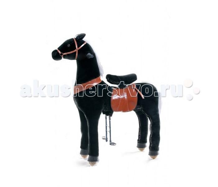 Каталка Ponycycle Черная лошадка профессиональная большая РА6181Черная лошадка профессиональная большая РА6181Каталка Ponycycle Черная лошадка профессиональная большая РА6181 - уникальная игрушка, которая позволит Вашему малышу ощутить себя настоящим наездником.  Лошадка полностью механическая, она не требует ни батареек, ни аккумуляторов. Для того, чтобы лошадка поехала, нужно сесть в седло, а затем садиться и привставать, опираясь на педали-стремена. Чем активнее малыш будет садиться и привставать в седле, тем быстрее поскачет лошадка.  Очаровательная лошадка может ехать не только прямо, она так же может совершать плавные повороты. За ушами лошадки есть деревянные рукоятки-держатели, малыш поворачивает их как руль велосипеда, и лошадка движется направо или налево, может совершить разворот. Назад Поницикл не едет, чтобы иметь возможность взбираться в горку и не откатываться (стопором служит стальной хомут, который не дает колесу прокручиваться назад).  Особенности: максимальная нагрузка - 90 кг высота в холке - 135 см высота посадки - 90 см расстояние от седла до педалей - 70 см вес - 35 кг.  Мягкая плюшевая шерсть, роскошная грива, удобные рукоятки и седло приведут в восторг юного всадника.  Отличия усиленной модели для проката от бытовой модели для домашнего использования: внутренний каркас усиленной модели выполнен из стали большей толщины, чем каркас бытовой модели корпус усиленной модели выполнен из армированного стекловолокна и поролона, у бытовой – из пенопласта усиленные модели оснащены более износоустойчивыми колесами противооткатный механизм усиленной модели заложен внутри барабана самого колеса, у бытовых моделей эту функцию выполняет стальной хомут, который не дает колесу прокручиваться назад мех усиленной модели имеет больше молний, позволяющих снять его для чистки усиленная модель выполнена из более износостойких материалов, поэтому имеет больший вес, чем бытовая модель усиленная модель имеет регулировку высоты педалей (2 положения), у бытовой модели 