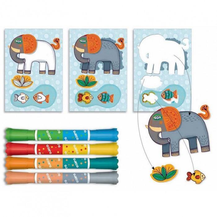 Наборы для творчества Djeco Набор для творчества  для малышей Зоопарк набор для творчества помпон djeco набор для творчества помпон