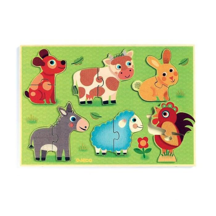 деревянные игрушки djeco косметика Деревянные игрушки Djeco рамка - вкладыш Животные на лугу