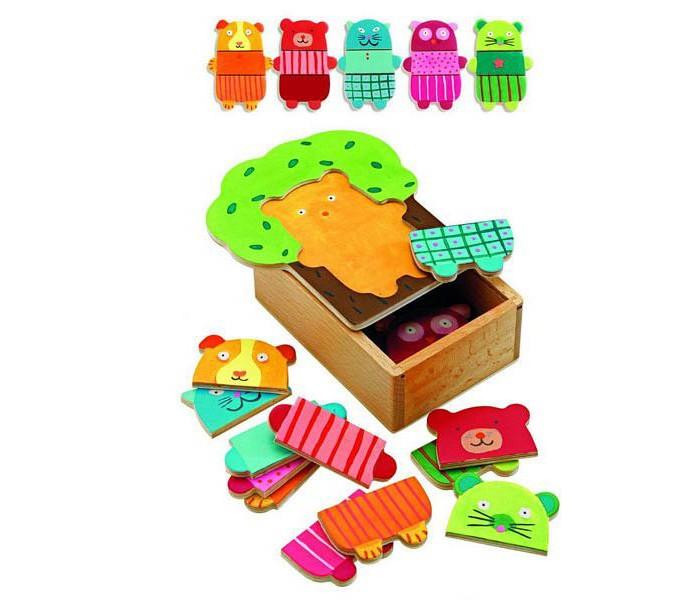 деревянные игрушки djeco развивающая мусса Деревянные игрушки Djeco Первый пазл зверюшки