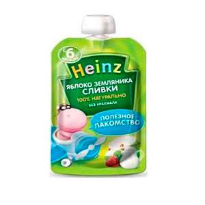 Пюре Heinz Пюре яблоко, земляника, сливки с 6 мес. 90 г heinz нежная грушка пюре с 4 мес