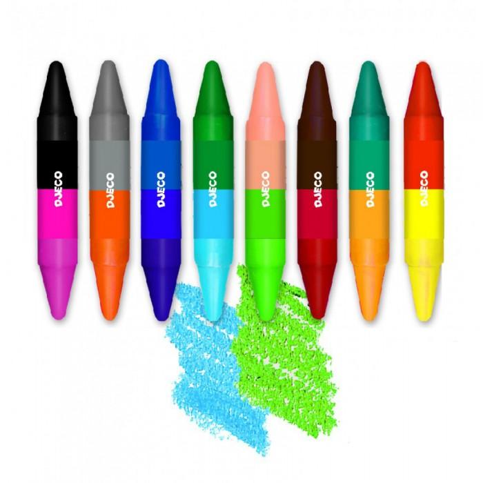 Карандаши, восковые мелки, пастель Djeco Карандаши двойные 16 цветов карандаши восковые мелки пастель djeco карандаши акварельные 12 цветов