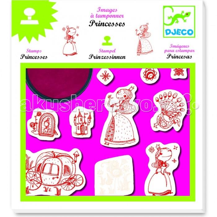 Принадлежности для рисования Djeco Набор штампов Принцессы djeco набор штампов алфавит