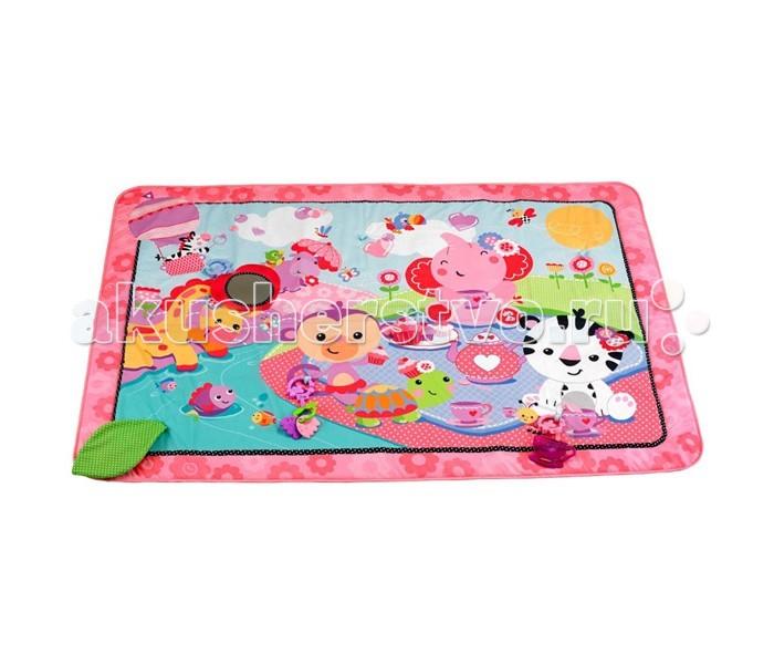 Развивающий коврик Fisher Price Mattel РозовыйMattel РозовыйFisher Price Mattel Розовый - очаровательный розовый коврик с дополнительными съемными элементами порадует каждого малыша. Коврик предназначен для игр ребенка с самого рождения.  Малыш может лежа на животике, изучать яркое поле, в котором прячется много приятные и удивительных открытий.  На просторном мягком коврике смогут разместиться сразу несколько детей и с большим удовольствием изучать красочные детали и рисунки. Здесь малыш найдет много приятных на ощупь и на слух элементов: шуршащие листики, разнообразные колечки и подвески привлекут внимание ребенка. Он будет с удовольствием смотреться в специальное зеркальце, выполненное из безопасного материала.   Так же на коврике есть мягкий прорезыватель, который малыш сможет использовать, когда у него начнут резаться зубки.<br>
