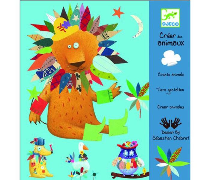 Аппликации для детей Djeco Набор для аппликации Животные djeco набор наклеек крылышки 160 шт