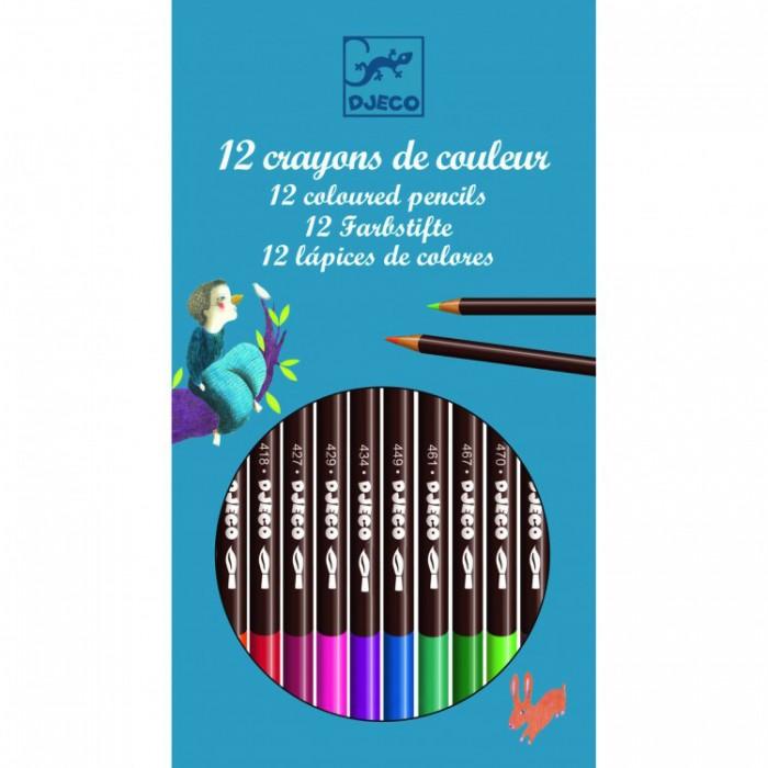 Карандаши, восковые мелки, пастель Djeco Карандаши акварельные 12 цветов карандаши