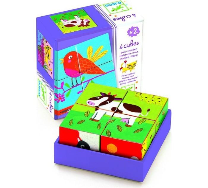 Деревянная игрушка Djeco Кубики Ферма 4 шт. фото