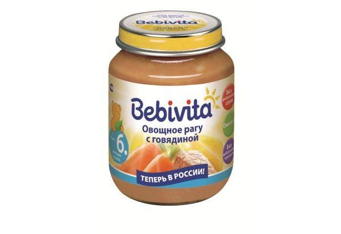 Пюре Bebivita Пюре Овощное рагу с говядиной с 6 мес. 100 г bebivita пюре овощное рагу с цыпленком с 9 мес