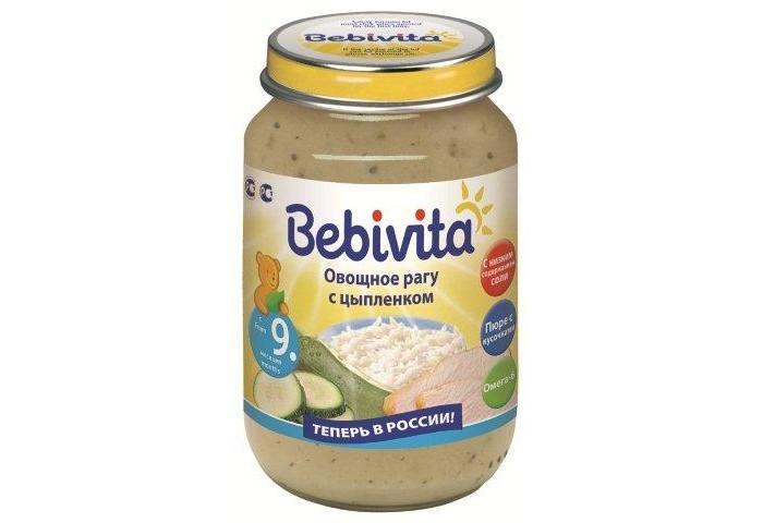 Пюре Bebivita Пюре Овощное рагу с цыплёнком с 9 мес. 190 г bebivita пюре овощное рагу с цыпленком с 9 мес