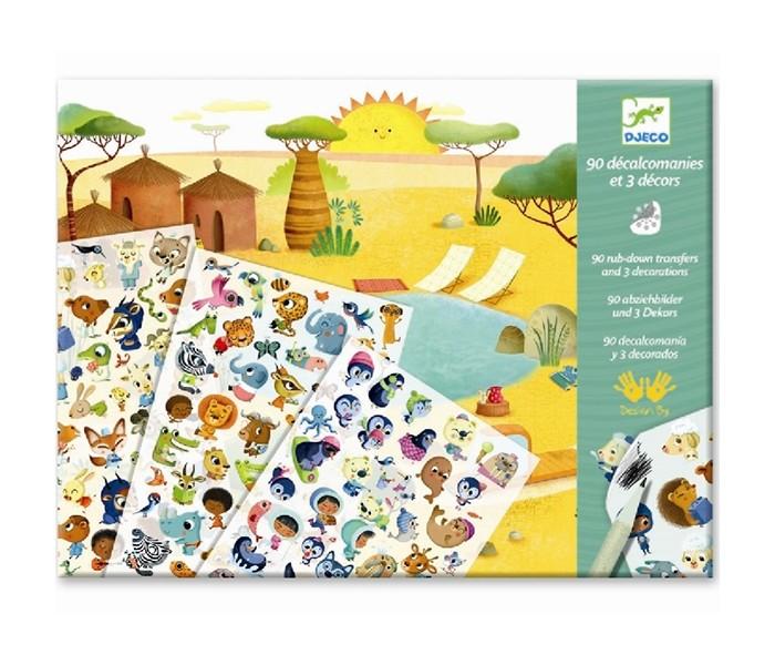 Развитие и школа , Детские наклейки Djeco Набор для творчества Саванна пустыня Северный полюс арт: 440329 -  Детские наклейки