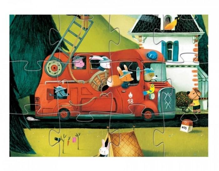 Пазлы Djeco Пазл Пожарная машина 16 деталей djeco пазл для малышей лесные животные