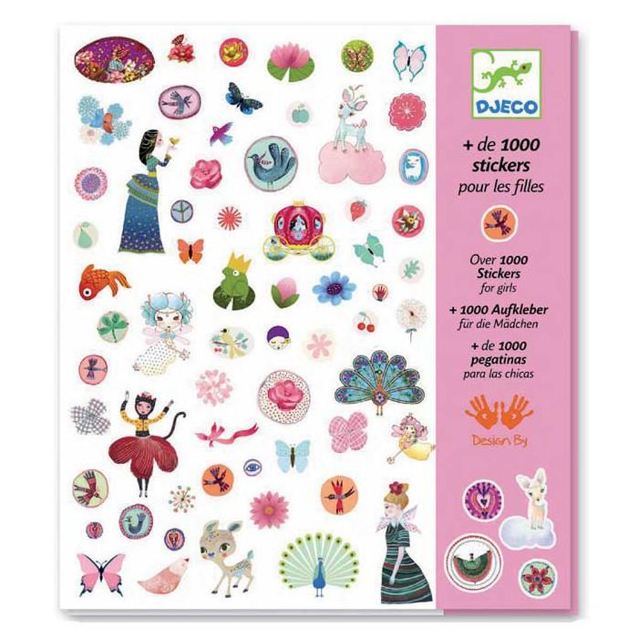 Развитие и школа , Детские наклейки Djeco 1001 наклеек для девочек арт: 441054 -  Детские наклейки