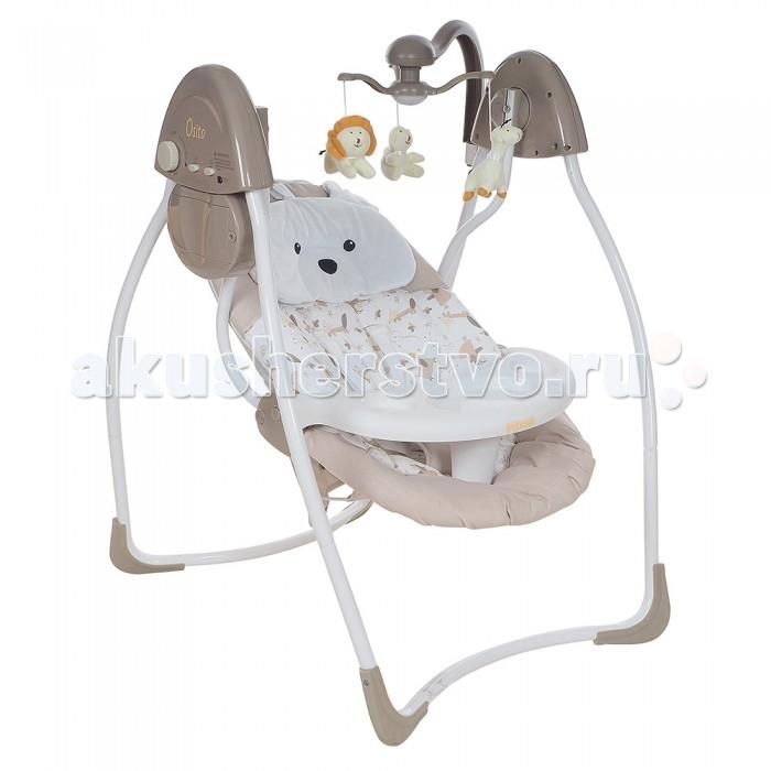 Электронные качели Pituso OsitoOsitoЭлектронные качели Pituso Osito позволит малышу чувствовать себя удобно и безопасно - как у мамы на руках.  Характеристики: 3 положения спинки 3-точечные ремни безопасности электронный мобиль с 3 подвесными игрушками 4 скорости качания 12 мелодий удобный съемный поднос может работать от батареек (2 шт. АА) или от адаптера 3 режима работы качелей (8, 15, 30 минут) съемный чехол, можно стирать, рекомендуется ручная стирка съемная подушка-подголовник-мишка  Размер: 64х48х64 см<br>