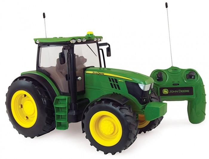 Машины Tomy Трактор 6190R 1:16 на ручном управлении с пультом подсветкой и звуком трактор tomy john deere зеленый 19 см с большими колесами звук свет