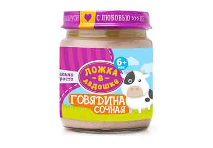 Пюре Ложка в ладошке Пюре Говядина сочная с 6 мес. 100 г цена