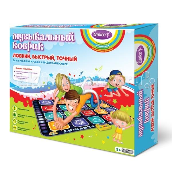 Игровой коврик Ami&amp;Co (AmiCo) Ловкий, быстрый, точный 20599Ловкий, быстрый, точный 20599Коврик музыкальный Ловкий, быстрый, точный.  Музыкальный коврик Amico – это увлекательная игрушка для подвижных игр.  Она способствуют всестороннему развитию ребенка, сочетая в себе элементы игры, танца и спорта.   Коврики реагируют на прикосновения и содержат несколько интерактивных игр, сопровождающихся веселой музыкой и звуками.  Следуя указаниям на индикационной панели, наступайте на соответствующие сенсорные кнопки с изображением фигур на коврике, каждый раз нужно нажать не меньше, чем на 3 фигуры одновременно.   2 режима игры, регулируемая скорость игры, рассчитан на несколько игроков, автоматическое автоотключение.  Размер коврика: 150 x 120 см<br>