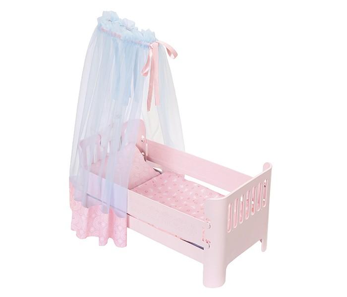 Кроватка для куклы Zapf Creation Baby Annabell Спокойной ночиBaby Annabell Спокойной ночиКроватка для куклы Zapf Creation Baby Annabell Спокойной ночи изготовлена из высококачественного, прочного и безопасного для здоровья ребенка материала.  Особенности: Кроватка Спокойной ночи очень стильная и красивая, Аннабель сможет отдохнуть в ней и погрузиться в крепкий сон Кроватка розового цвета, сверху украшена голубым балдахином, внутри подушечка, матрасик и одеялко, а постель с принтом в цветочек так и манит прилечь.<br>