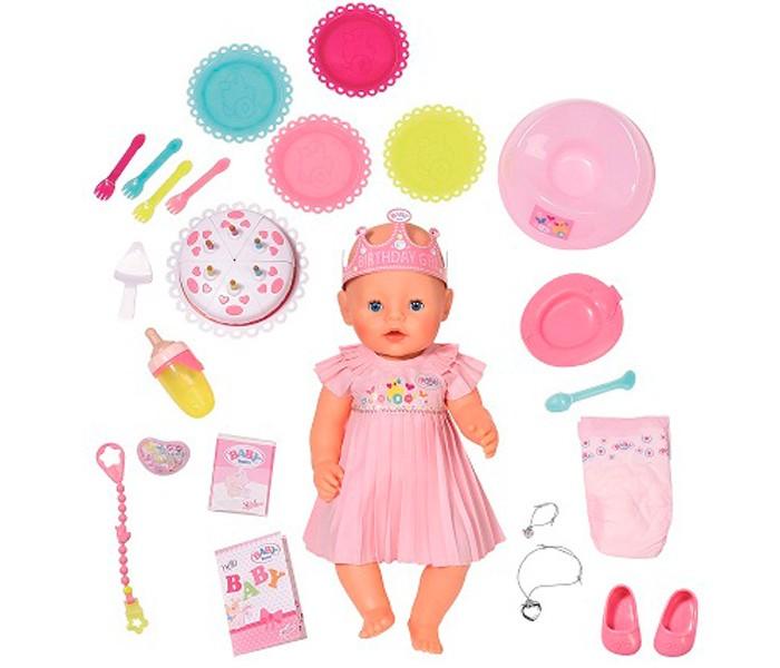 Zapf Creation Baby born Кукла Интерактивная Нарядная с тортом 43 см