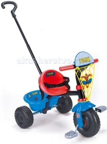 Велосипед трехколесный Smoby Человек-паукЧеловек-паукТрёхколёсный велосипед Smoby Человек-паук - удобный и легкий летний транспорт для малышей.   Особенности:    Основа велосипеда – металлическая, а сиденье, корзина, крылья, педали и колеса – из упрочненного пластика.   На руле – желтая сетка с изображением человека паука.  Цельное сиденье с небольшой спинкой снабжено регулируемым 3-точечным ремнем безопасности, что удобно для самых маленьких велосипедистов.  «Багажник» - вместительная корзина для игрушек.  Ручка велосипеда регулируется по длине, а при необходимости – снимается.  Велосипед раскрашен в традиционные красно-синие цвета Человека Паука, украшен наклейками.    Размеры:    длина – 71 см,   ширина задних колес – 48 см,   высота – 54,5 см.   высота сиденья - 30 см.   Материал: упрочненный пластик, металл  Размер: 500ммX710ммX525мм Размер упаковки: 230ммX465ммX400мм Вес: 4600 гр.<br>