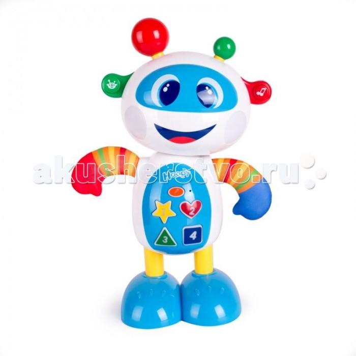 Happy Snail Робот HoopyРоботы<br>Музыкальная игрушка Happy Snail Робот Hoopy привлечет внимание малыша своим красочным видом.   Маленький робот выглядит очень забавно - у него большая голова, добрые глаза, улыбающийся рот и разноцветные рожки.   У игрушки доступны 3 режима. В режиме музыка робот поет веселые песенки и ритмично танцует, приглашая ребенка повторять за ним. В режиме викторины забавный человечек просит малыша найти цвета, формы и цифры, расположенные у него на животе. Если ответ правильный, щеки Hoopy загораются зеленым цветом, если неправильный - красным. В режиме записи и воспроизведения робот повторяет все, что слышит.  Интересная интерактивная игрушка подарит много счастливых минут ребенку и станет его первым в жизни роботом, другом и компаньоном. В непринудительной игровой форме веселый робот научит ребенка различать цвета и формы, заложит основы счета.    Возраст: от 1 года  Тип батареек: 4 x AA LR6 1.5V (пальчиковые).