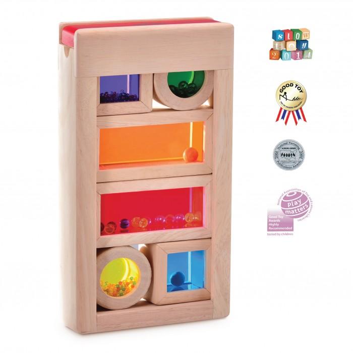 Деревянная игрушка Wonderworld Радужные блоки со звуком в контейнере
