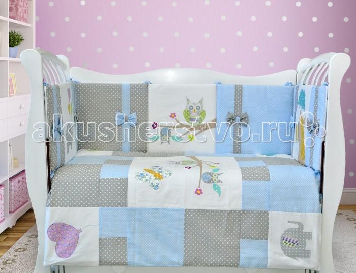 Комплект в кроватку Лапуляндия ЛДР076 (8 предметов)ЛДР076 (8 предметов)Комплект в кроватку Лапуляндия ЛДР076 (8 предметов) создаст уют, чудесную атмосферу и обеспечит безопасность во время сна.   Особенности: Комплект выполнен из 100% хлопка, наполнитель: гипоаллергенный холоффайбер Для кроваток 120х60 см. Бортики имеют съемные чехлы Комплект украшен аппликациями веселых животных, которые обязательно заинтересуют Вашего ребенка. Уход: машинная стирка на деликатном режиме при 30°С чехлы домиков снимаются, остальные бортики стираются целиком. В комплекте: бортики на все стороны кроватки (2 больших борта высота 36 см., толщина 2 см., длина 120 см; 2 маленьких борта высота 36 см., толщина 2 см, длина 60 см.) одеяло пододеяльник простынка на резинке наволочка.<br>