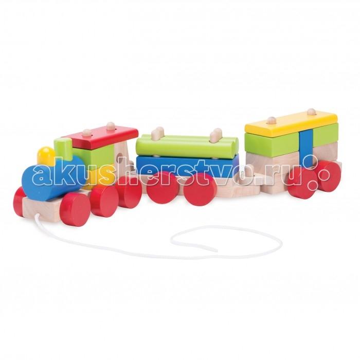 Каталки-игрушки Wonderworld Поезд на веревочке doloni поезд конструктор с двумя прицепами