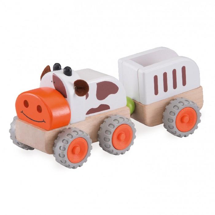 Деревянные игрушки Wonderworld Трактор Му-Му с прицепом Miniworld звуки му