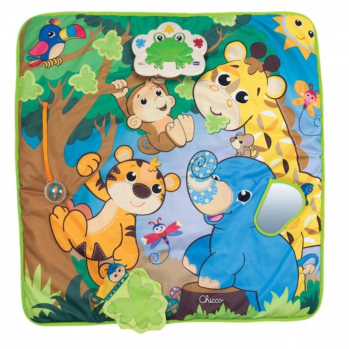 Развивающий коврик Chicco ДжунглиДжунглиМелодии и игры для развития ручной моторики. Исследуем джунгли вместе!  Вашего малыша ждет настоящее веселье с новым мягким развивающим ковриком.   Разнообразные игры с любимыми жителями джунглей — тигром, обезьянкой, слоном и жирафом — развивают ручную координацию и навыки звукового восприятия.   Нажмите на кнопки электронной панели и послушайте 8 мелодий и настоящих голосов животных.   А также мячик-погремушка с бабочкой внутри, улитка, прячущаяся за листьями деревьев, и слоник с ушком-зеркалом.   Джунгли зовут!<br>