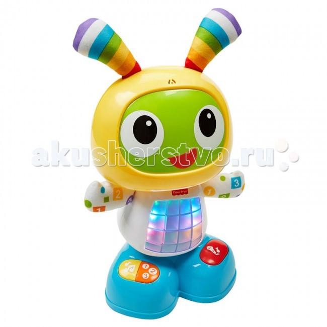 Интерактивная игрушка Fisher Price Обучающий робот Бибо Танцуй и двигайсяОбучающий робот Бибо Танцуй и двигайсяОбучающий робот Бибо Fisher Price  Нажмите на животик БиБо или любую кнопку на его ножках, чтобы активировать веселые песенки, обучающие фразы и мелодии, под которые можно танцевать. Эта забавная игрушка даже позволяет маме или малышу записывать фразу, из которой БиБо затем делает веселую песенку.  У игрушки три режима — Веселые танцы, Обучение и игры, Веселые песенки — так что веселой Бибо будет «расти» вместе с малышом, радуя его веселыми играми в течение многих лет.  Игрушка обучает малыша буквам, цветам, счету, музыке, причинно-следственным связям и многому другому. Для работы необходимо четыре батарейки типа «AA».  Возможные режимы: Танцуй и двигайся - активируйте Бибо, нажав на животик или на любую кнопку на его ножках, чтобы активировать веселые песенки, обучающие фразы и мелодии, под которые можно танцевать! Обучение и игры - обучает малыша буквам, цветам, счету, музыке, причинно-следственным связям и многому другому с помощью песенок и фраз. Запиши свой mix - скажите Бибо какое-нибудь слово или фразу, и Бибо споет свою песенку с этой фразой!  Игрушка рекомендуется для детей в возрасте от 9 месяцев до 3 лет. Материал: пластик Размер упаковки (ДШВ): 36x15x33 см<br>