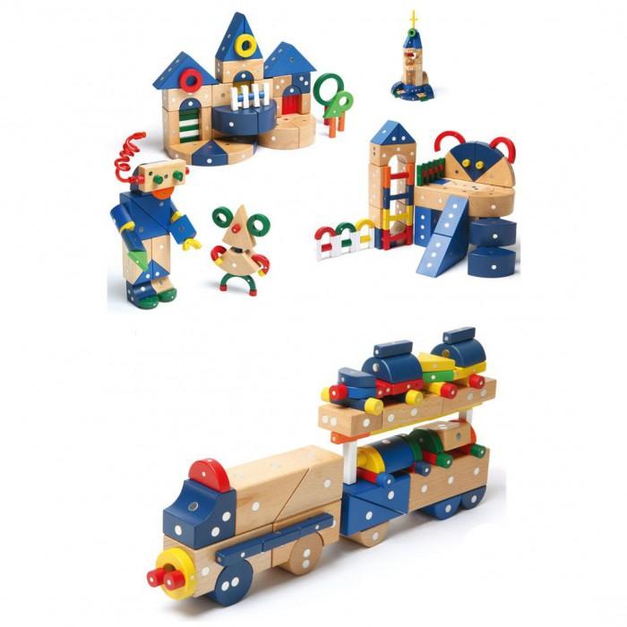 Конструктор Genii Creation Магнитный деревянный Животные, транспорт и дом 132 элемента