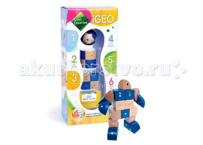 Конструктор Genii Creation Магнитный деревянный IGeo 24 элемента