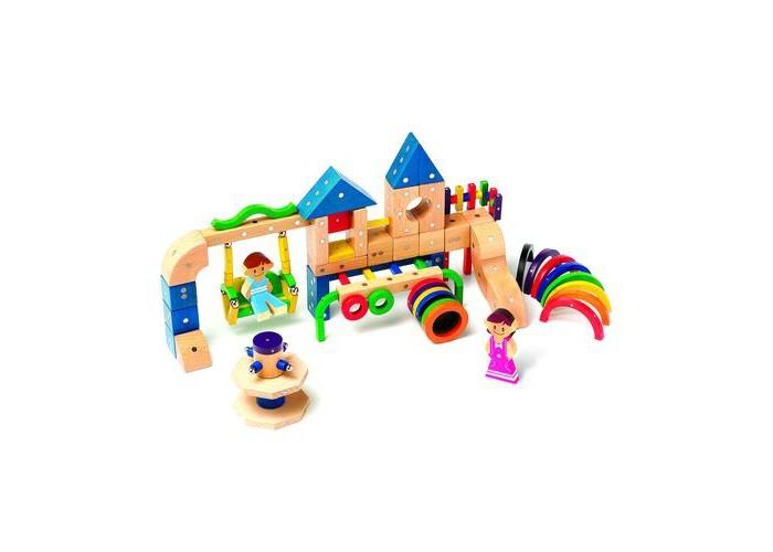Конструктор Genii Creation Магнитный деревянный Детская площадка 173 элемента