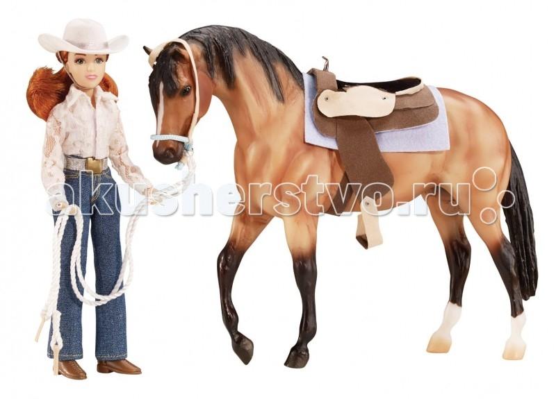 Breyer Набор лошадь и наездница в стиле вестернНабор лошадь и наездница в стиле вестернПомимо игровых и коллекционных моделей лошадей Breyer разработали целый ряд разнообразных аксессуаров, позволяющих сделать игру еще более интересной и увлекательной, и создавать целые сценки из жизни любимых лошадок на полке у ребенка.  Набор Лошадь и наездница, в стиле вестерн из серии Traditional понравится как ребенку, так и коллекционеру. Забавная пегая лошадка, чья масть похожа на яркую мозайку, с реалистичной амуницией, которую можно снимать, прекрасно смотрится в паре с куклой-наездницей, одетой в традиционном вестерн-стиле. Благодаря шарнирным конечностям кукле можно придать практически любое положение, и даже посадить в седло. Одежда снимается, и ее легко можно превратить в спортсменку, выступающую на соревнованиях.  В набор входит: Кукла вестерн-одежде:  - джинсовый костюм  - ковбойскую шляпа  - голубые сапоги модель лошади в масштабе 1:9 вестерн-седло вальтрап розовый уздечка красочный постер 28 см х 43 см   Все изготовлено из высококачественных материалов, экологично и абсолютно безопасно.   Рекомендовано детям от 4 лет.   Размер наездницы 20 см   Размер лошади Д х В: 20 см х 32 см<br>
