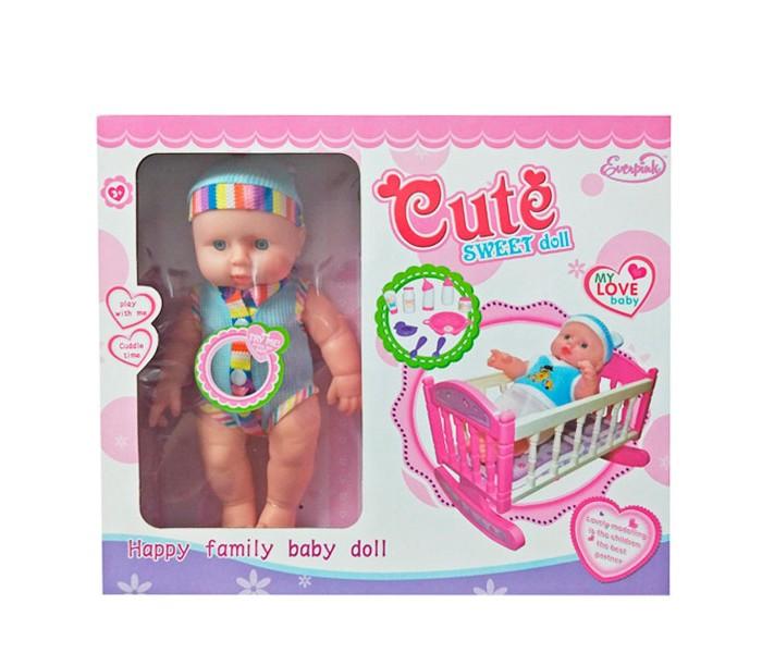 Куклы и одежда для кукол S+S Toys Пупс с кроваткой куклы s s функциональная кукла