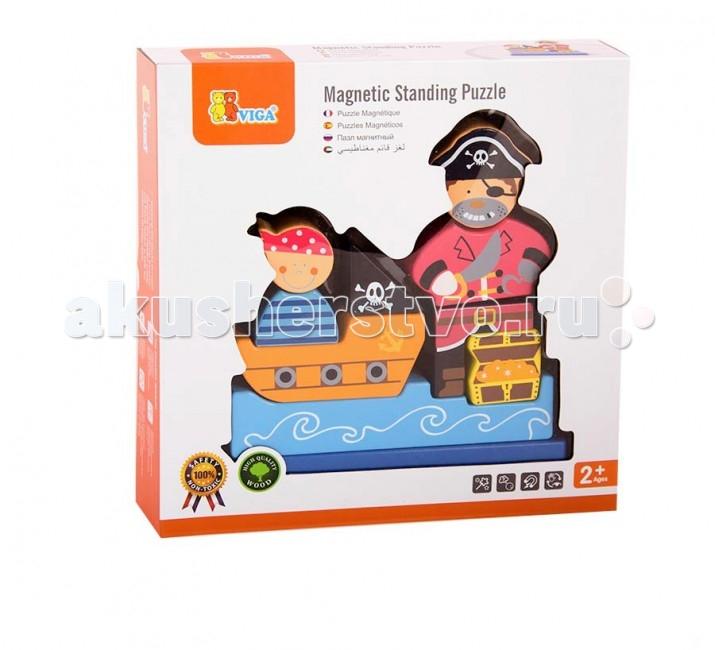 Деревянные игрушки Viga Магнитный 3D пазл Пират деревянные игрушки viga пазл морские обитатели
