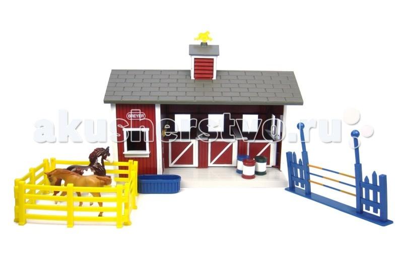 Игровые фигурки Breyer Конюшня красная с двумя лошадьми игрушка для животных каскад барабан с колокольчиком 4 х 4 х 4 см