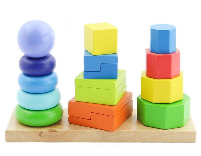 Деревянная игрушка Мир деревянных игрушек Пирамидки 3 в 1