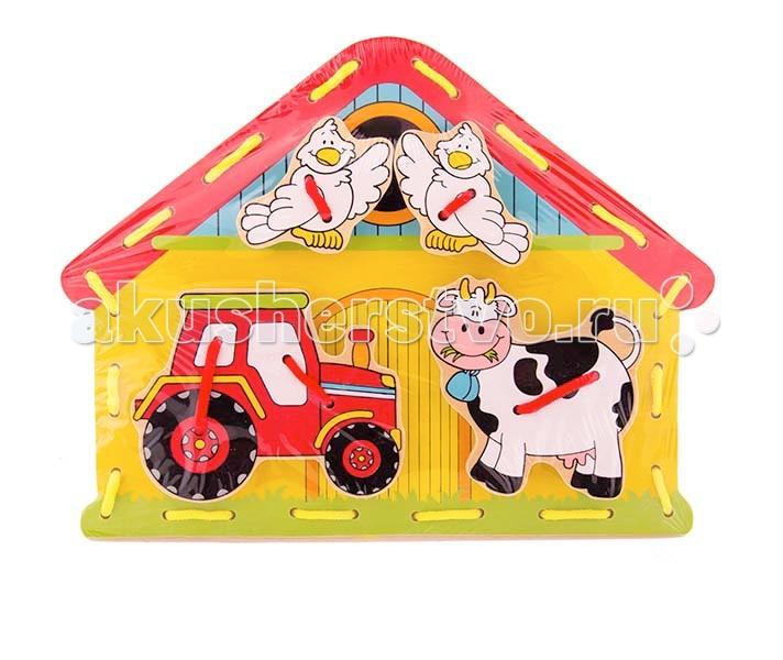Деревянная игрушка Viga Шнуровка Ферма 59027