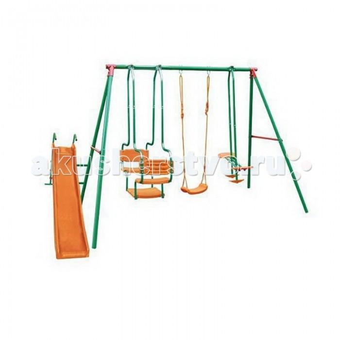 DFC Детский комплекс с горкойДетский комплекс с горкойDFC Детский комплекс с горкой - этот многофункциональный спортивный комплекс предназначен для размещения на детской площадке или даче.  Компактная конструкция включает в себя А-образные металлические стойки и верхнюю трубу с креплениями для качелей. Для надежности А-образные трубы соединены боковыми трубками. Прочная стальная конструкция качелей с верхней трубой обеспечивает безопасность раскачивания. Горка, спускной желоб и сиденья выполнены из экологически чистого пластика, устойчивого к воздействию солнечных лучей.   Комплекс включает в себя: качели горку двухместные качели  гондолу  Особенности: регулируемые веревки для качелей спускной желоб и сидение качелей- пластик подходит для детей: 3-10 лет верхняя труба : 50.8 x 2 мм ноги: 45x1.мм боковые трубки: 25.4x1.00 мм Материал: металл - сталь, покрытие - порошковая краска; пластмасса - устойчивая к воздействию солнечных лучей.  Размер в разложенном виде: 370 х 192 х 200 см<br>