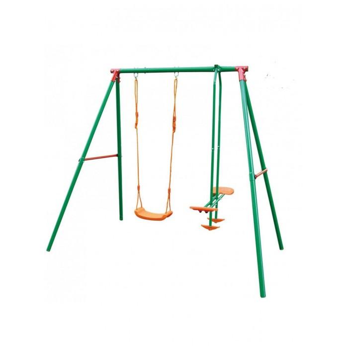 Качели DFC двойные SGN-02двойные SGN-02DFC Качели двойные детские можно установить на даче или детской площадке во дворе, они подарят детям массу приятных впечатлений! Модель – прочная, устойчивая и безопасная. Несущие элементы конструкции изготовлены из стали, поэтому выдерживают всевозможные нагрузки и не деформируются со временем. На качели наносится порошковая краска, которая защищает конструкцию от коррозии. Пользоваться качелями – просто, удобно и безопасно для каждого ребенка. Сидение изготовлено из пластика, оно исключает возможность переохлаждения и неприятных ощущений. Максимальная нагрузка на конструкцию может достигать 70 килограмм. Упрощенный монтаж помогает быстро установить изделие, добившись его максимальной прочности и устойчивости.  Комплекс включает в себя: верёвочных качелей качелей-качалки для двоих Особенности: регулируемые веревки для качелей сидение качелей - пластик подходит для детей: 3-10 лет верхняя труба : 50.8 x 2 мм ноги: 45x1.5 мм боковые трубки: 25.4x1.00 мм  Материал: металл - сталь, покрытие - порошковая краска; пластмасса - устойчивая к воздействию солнечных лучей.  Размер в разложенном виде: 206 х 155 х 200 см<br>