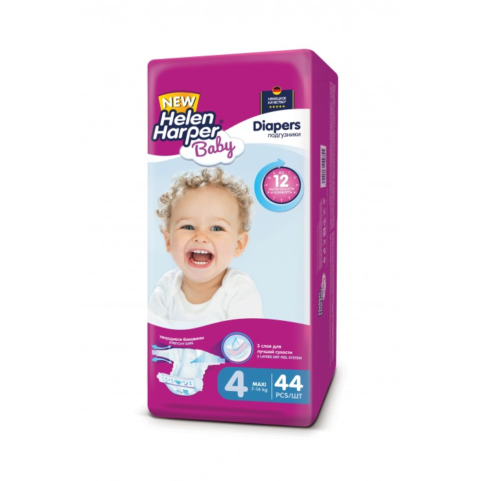 Подгузники Helen Harper Подгузники Baby Maxi (7-14 кг) 44 шт. подгузники