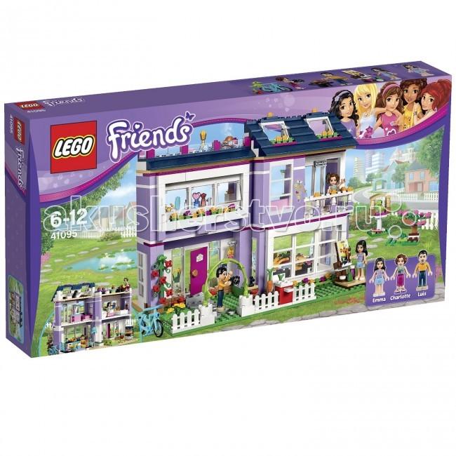 Конструктор Lego Friends 41095 Лего Подружки Дом ЭммыFriends 41095 Лего Подружки Дом ЭммыКонструктор Lego Friends 41095 Лего Подружки Дом Эммы собирается из 706 деталей.  Эмма приглашает в гости! Эмма и ее родители – дизайнер и архитектор – создали очень стильный дом, оборудованный по последнему слову техники.   Приготовь на современной кухне вкусную еду из выращенных в собственном саду овощей и свежих продуктов из холодильника. Потом в гостиной всей семьей посмотрите кино по телевизору с плоским экраном.   Дизайн своей комнаты Эмма придумала сама. Она ею очень гордится и любит принимать в комнате своих друзей. Она с удовольствием показывает великолепный вид с ее балкона.   Помоги Эмме принять ванну с пузырьками, а потом посади ее перед зеркалом и подбери идеальный макияж. Займись живописью в прекрасном саду камней, в котором висит скворечник для ее ручной птицы. Или пригласи друзей на барбекю на террасе на крыше.  Построй дом Эммы, оборудованный по последнему слову техники. Приготовь на современной кухне вкусную еду. Вырасти овощи в собственном палисаднике. Устройся с комфортом в гостиной и посмотри кино. Прими ванну и подбери макияж за туалетным столиком. Отправляйся отдыхать в комнату Эммы. Покорми канарейку в саду и полюбуйся маленьким прудом с лягушонком. Нарисуй картину, расположившись в саду.  В комплекте 3 минифигурки с аксессуарами: Эмма мама Шарлотта папа Луис. Количество деталей: 706 шт.<br>