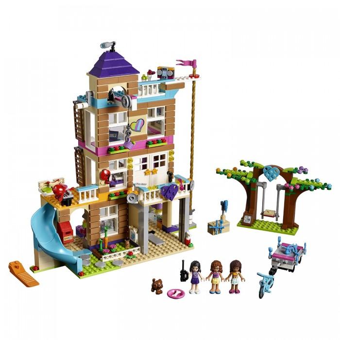 Конструктор Lego Friends Дом дружбыFriends Дом дружбыLego Friends Дом дружбы - помоги Оливии, Эмме и Андреа переоборудовать старую заброшенную пожарную башню в штаб-квартиру, в которой подруги будут встречаться для обсуждения важных городских дел и проектов. И будь готова к тому, что в любой момент может раздаться сигнал, после которого нужно спешить на помощь людям, чьи животные попали в беду.   После тяжелого рабочего дня отправляйся на третий этаж в джакузи, чтобы немного взбодриться, а после располагайся удобно перед телевизором и смотри свои любимые передачи. Активная лебедка, с помощью которой можно опускать и поднимать предметы в ведерке. Канат, по которому можно спуститься, крутится. Набор дополняется наборами с комнатами девочек.  В комплекте: 3 минифигурки: Андреа, Эмма, Оливия Фигурка кролика и щенка Дом дружбы Аксессуары: качели, велосипед, прицеп, телевизор, рация, наушники, телефон, колонки, гитара, попкорн, пицца, коктейли, чашка, лимонад, ведерко, микроволновка Всего 722 детали<br>